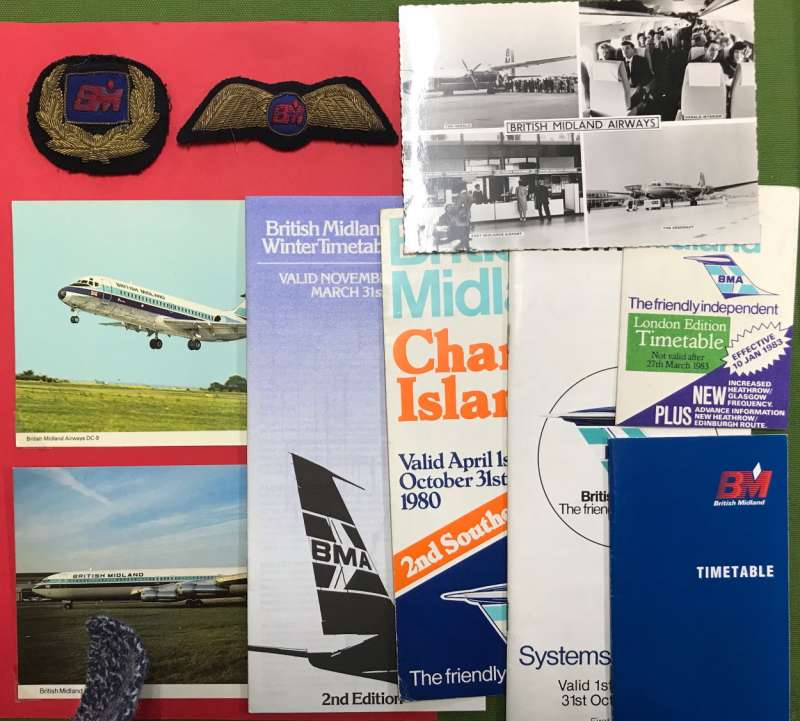 (Ephemera) Collection: BRITISH MIDLAND AIRWAYS 1938-2012, fine collection of ephemera (28 items) including 10 timetables, 12 PPC of company planes, original B&W photos of BEA Viscount and BEA G-BAPD Vanguard, 2 FFC's , and pilot's cap badge and wings. See scans.