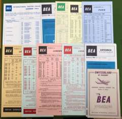 (Ephemera) Collection: BEA, 22 timetables, all different, fine.