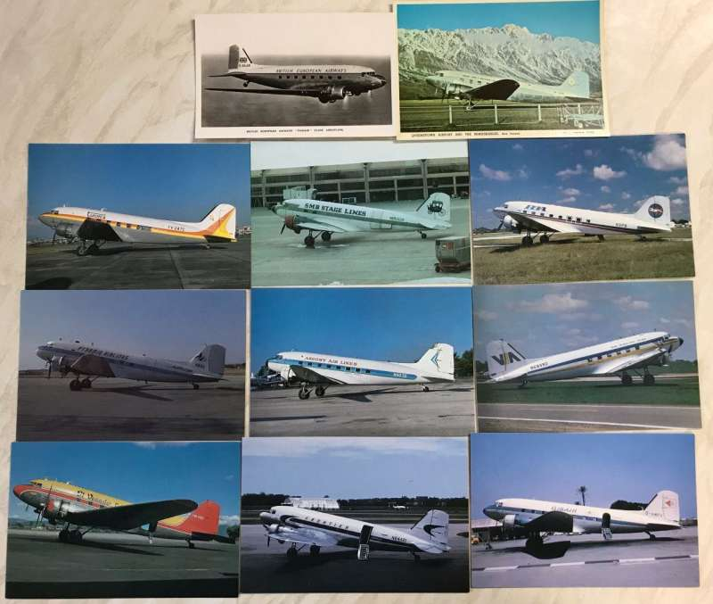 (Ephemera) Collection: eleven PPC's of vintage DC 3's of airlines from around the world, all in company livery, including a superb photocard of Mount Cook and Southern Lakes plane on tarmac against superb background of snow capped 'Remarkables' mountains in New Zealand.