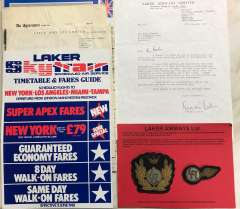 (Ephemera) Collection: LAKER AIRWAYS 1966-1982 ephemera, gone but not forgotten.  Evocative collection of ephemera including flight engineer's contract of employment, salaries of pilots, engineers and navigators at that time, letter of commendation to employee SIGNED BY FREDIE LAKER, 1981 timetable and fares GB-USA, self build model of Laker DC10, 4 passenger tickets, ppc DC10 and B&W photo of BAC 111, flight engineers Laker cap badge and brevet, and International Caribbean Airways cap badge and brevet. (15 items).