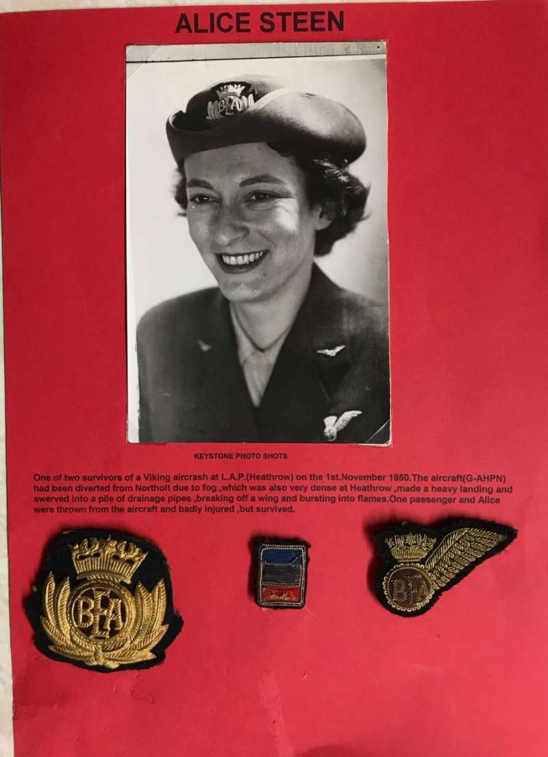 (Ephemera) BEA Paris-London  Viking crash London airport, 1st November 1950. B&W photograph of Alice Steen, the flight air stewardess in uniform. She was one of only tow survivors, Nierink #501031. Also her cap badge and brevit which she is wearing in the photograph.