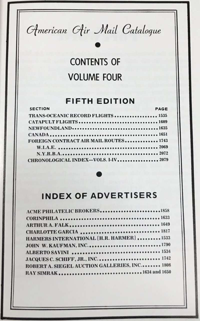 (Reference Material) American Airmail Catalogue, Volume 4,  AAMS 5th edition - includes Trans-Oceanic, Catapult, Newfoundland and Canada, and  Foreign Contract Airmail Routes. 530 pages, illus. hard back.,  The current edition but now out of print and very difficult to find. As new, and one of the best ever sources of reference.