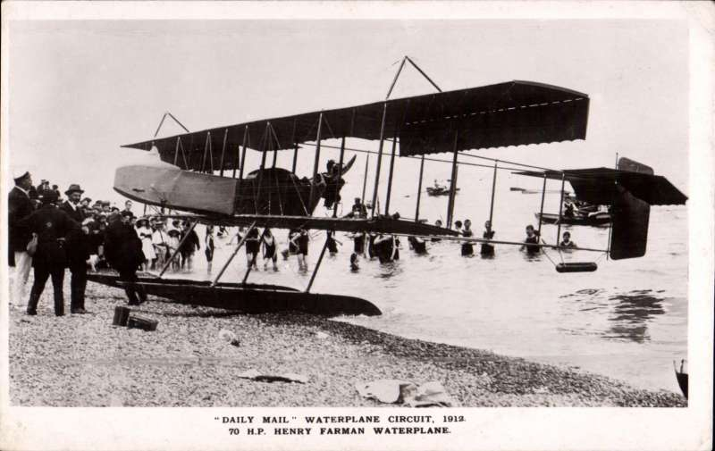 (Ephemera) Daily Mail Waterplane Circuit, 1912, original B&W photocard showing 70 H.P Henry Farman waterplane on beach.