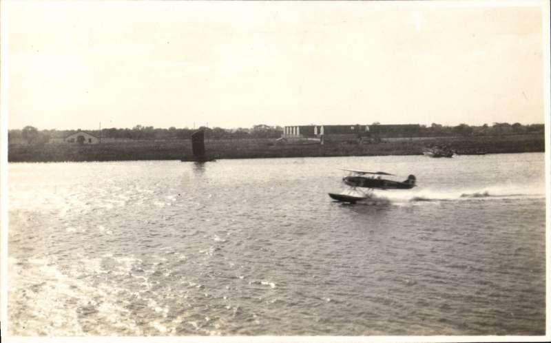 (Ephemera) Seaplane, a ? Fairy IIID landing on the Wangpu River, Weiheiwei, c1927. Believed to be from HMS Vindictive, an aircraft carrier with catapult which sailed from the UK on 1/1/26 on a two year commission in the China Station.. A clue is the ms verso 'The early 1920's/and the International Civil Registration for Wei-hai-wei was VP-W'.