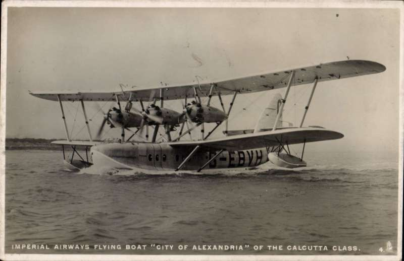 (Ephemera) Flying boat 'City of Alexandria' afloat, an original unused 'Tucks' B&W photocard.