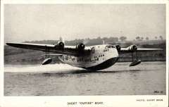 (Ephemera) Short Empire flying boat 'Ceres' about to take off, an original unused 'Valentines' B&W photocard.