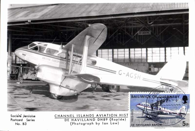 (Ephemera) DE Havilland DH89, G-AGS, in BEA livery, an original unused B&W photocard showing plane on tarmac alongside hangar. Guernsey 5p stamp canc FDI 4/7/73 neatly affixed in lower RH corner. Attractive and unusual item.