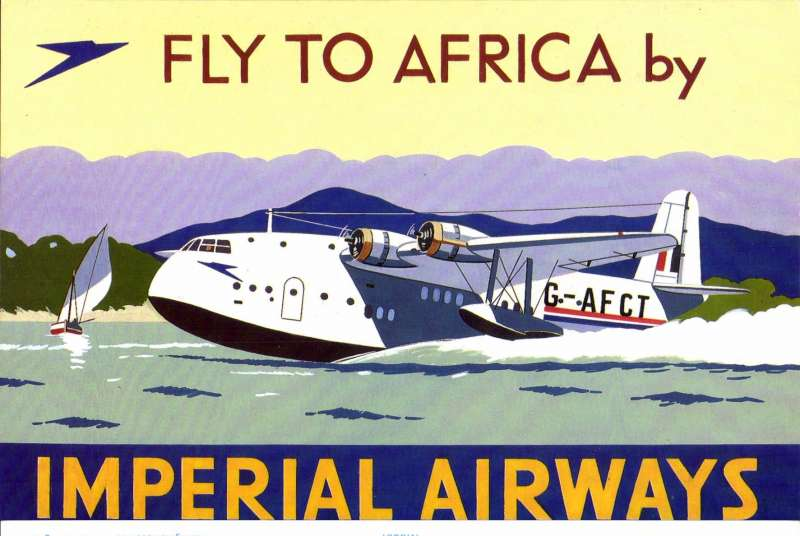 (Ephemera) Short S-30c 'Champion', repro of beautiful multocoloured IAW poster by Colin Ashford showing plane G-AFCT taxiing, See scan.