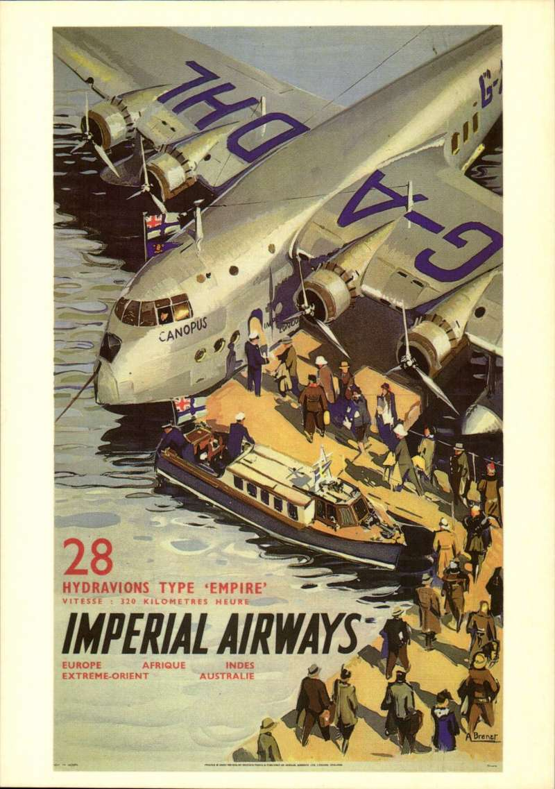 (Ephemera) Short S-23 Empire 'Canopus', repro of attractive multicoloured IAW poster by A. Brenet showing plane at mooring with passengers embarking from pontoon.