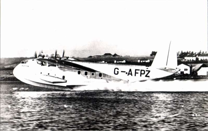 (Ephemera) Short S.30 C Class flying boat  'Clifton' G-AFPZ, about to take off, original B&W photograph. Not commonly seen.
