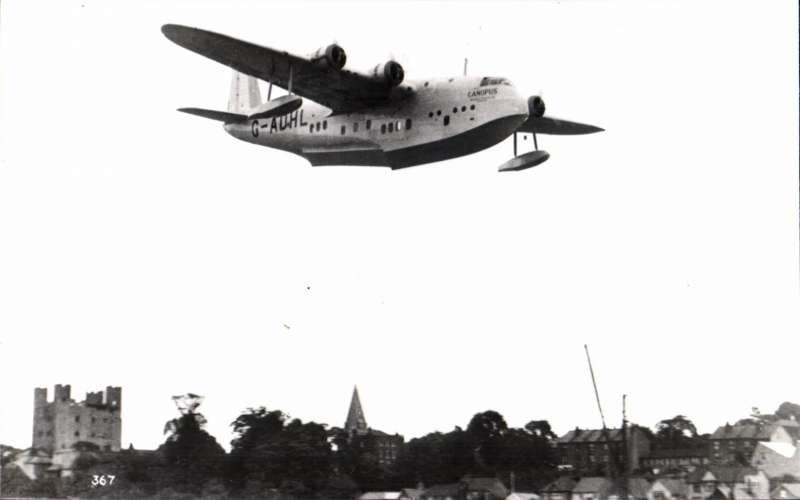 (Ephemera) Short S.23 C Class flying boat 'Canopus, G-ADHL, coming in to land, original B&W photograph.