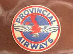 (Ephemera) Provincial Airways coaster, scarce. Inaugurated ?The West Country Air Service from London to Southampton and Plymouth on Nov 25th, 1933, twice-daily service Croydon and Penzance with stops at Portsmouth, Southampton, Bournemouth and Plymouth. In February, a new route was started between Plymouth and Hull. But the routes were not a financial success and the company closed on 10 December 1935.