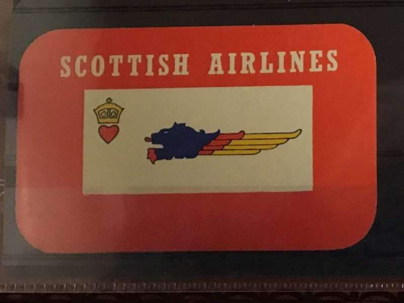 (Ephemera) Baggage label, Scottish Airlines (Prestwick) Limited was formed in 1946 as a subsidiary of Scottish Aviation Limited.[1] The airline commenced worldwide passenger and cargo charter flights from bases at Prestwick and Stansted. It also participated in the Berlin Airlift, Not to be confused with Scottish Airways or Air Scotland. Scarce