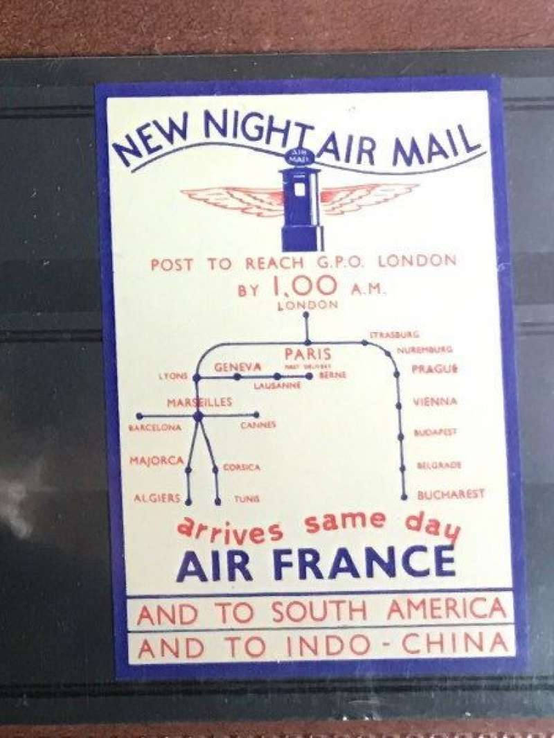 (Ephemera) Air France label/vignette, New Night Air Mail, same day from Paris to London, Sdouth Amrica and Indo-China