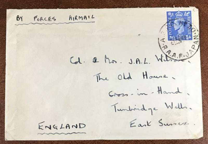 (World War II) Airmail envelope with Royal Australian Air Force Post Office (AFPO) 30 RAAF cancel. AFPO 30 was deployed at Iwakuni from May 1946 and was actively in use well int the Korean war.