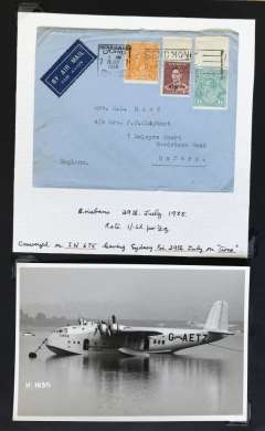 (Ephemera) Flying boat 'Circe' at mooring, original B&W photograph, 15x10 cm, also a cover from Sydney, 29 July 1938, to England carried on the Imperial Airways Eastern Service flight #675 and flown by 'Circe'