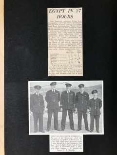 (Ephemera) First Accelerated Flight by 'Centaurus' on the Imperial Airways Eastern Service Southampton to Karachi 10/4/1938. Original newspaper cuttings (3) giving flight details; a group picture of the crew, and  a cutting including crew members' names. Mounted on card, see scan.