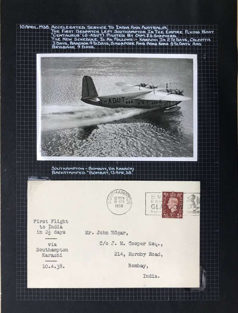 (Egypt) London to Karachi, and on to Bombay bs 13/4, SCARCE FIRST ACCELERATED FLIGHT on the Imperial Airways Eastern Service flight #IE643, flown all the way by Short S23 C Class Empire flying boat 'Centaurus' departed Alexandria 10/4 and arrived Karachi 12/4,  plain cover, franked  1 1/2d, typed 'First Flight to India in 2 1/2 days/via Southampton - Karachi/10.4.38'. Also fine unused original Tuck's B&W photocard of Centaurus landing.
