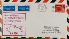 (Virgin Is) First jet airmail Charlotte Amalie to New York AMF, cachet, b/s,