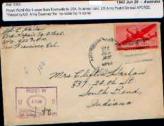 (US army post offices) USAPO Townsville Austalia-USA,  6c air cover, see scan.