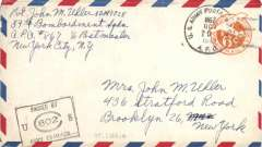 "(Guam) World War II censored cover flown from vieux Fort, St Lucia to USA, 6c airmail PSE cancelled by unique identifier ds ""US Army Postal Service/ APO 867"", also ""Passed by US  Army Examiner"" hs."