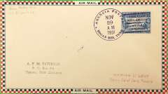 "(Panama) F/F  Boscas del Toro to Colon, violet double circle ""Agencia Postal-Colon"" and ""Primer Correo Aereo Nacional"" arrival ds's, Roessler large check airmail cover,"
