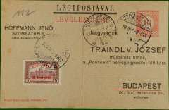 "(Hungary) 10k ""Legipostaval"" printed PSC with additional 8k stamp flown Szombathely to Budapest, bs 9/12."