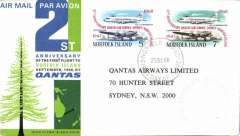 (Norfolk Is) 21st anniversary F/F, Norfolk Is to Sydney, cachet, b/s, Qantas