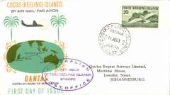 (Cocos Islands ) Flown souvenir cover, Cocos to Jo'burg, franked FDI 2/3d, cachet, b/s, Qantas.