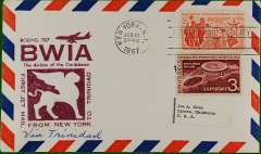 (United States) First jet NY to Port of Spain, cachet, b/s, BWIA