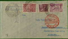 """(Ship to Shore) Air-Sea-Air cover to Berlin, bs 3/4, franked 4200r canc Recife cds, red circular Berlin C2 receiver on front. Flight dates suggest air by CGA to Natal, then """"Aviso"""" to Dakar, then air AF/DLH to Berlin."""