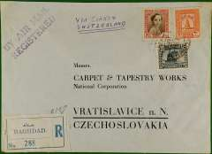 "(Iraq) Commercial air registered (label) cover to Carpet and Tapestry Works, Vratislavice, Czechoslovakia, bs Prague 15/3, franked 55fls canc Baghdad cds, ms endorsement ""Via Cairo and Switzerland"", violet two line ""By Air Mail Registered"" hs."