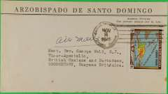 """(Dominican Republic) Episcopal airmail, Cuidad Trujillo to Georgetown, British Guiana, bs 10/11, ms """"Air Mail"""", official envelope from the office of the Archbishop of Santo Domingo, franked 10c - a preferential rate for the clergy?."""