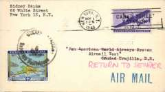 """(Dominican Republic) Airmail round trip test letter to Trujillo, Dominica, with red ms, """"Return to Sender"""", b/s 4/11, added 13c Dominica stamp cancelled for return, and red"""" Received/ Pan American Airways/4 Nov 1946""""  hs verso.  Scarce souvenir of an important new rate which is not listed in AAMC""""."""