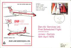 (Channel Is) First scheduled service, Jersey to Carlisle, souvenir company cover, POA, airport depart hs, Dan Air.
