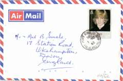 (Falkland Is) Social air cover addressed to England, no arrival ds, franked Princess Diana 17p canc Port Stanley cds.