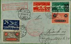 (Switzerland) Winterluftpost, Zurich to St Moritz, arrival ds on front, red cachet, cover franked stamps cat 90SWF+.