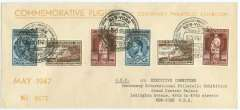 (Belgium) Cipex special flight, Brussels to New York, b/s, franked Damianus set x2 overprinted for airmail use, special depart cachet, souvenir cover, 21x9cm, Sabena.