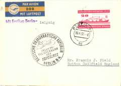 (Germany) F/F, Berlin to Leipzig, special depart ds, no b/s, flight cachet, card, blue/yellow DDR etiquette, Lufthansa.