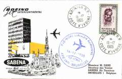 (French Ivory Coast) First jet,  Abidjan to Brussels, b/s, cachet, souvenir Air cover, Sabena.
