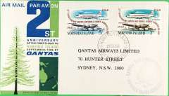 (Norfolk Is) Norfolk Is to Sydney, b/s, 21st anniversary Qantas souvenir cover franked FDI 7c and 5c commem. air stamps, Qantas.