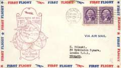 """(United States Internal) First airmail service out of Vero Beach, Florida, First Contract, official cachet, printed """"First Flight"""" cover."""