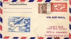 (Portugal) Atlantic Clipper Flight, F/F FAM 18  Lisbon to Horta (Azores), cachet, b/s, Pan Am