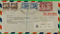 (Transjordan) Transjordan-Yugoslavia, registered (Amman label) commercial air cover to Celje, Yugoslavia, bs1/2, via Jerusalem 29/1, franked 110 mls canc Amman Registered oval ds. Uncommon origin/destination.