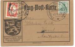 """(Germany) Air mail at Rhine and Main, special orange card franked 5pfg Germania + 10pfg brown red special flight stamp tied by  Darmstadt cancellation. Flown during """"postcard week"""" to promote the Grand Duke and Duchess of Hessen's concern for mother and infant care, see Kronstein pp141,142."""