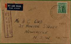 """(Australia) Forces airmail to Newcastle, NSW, franked 4d canc Aust Unit Postal Stn/354 (Darwin) cds, violet boxed """"Department of the Army/Concession Postal Rate"""", etiquette cover. Some rough opening verso, otherwise fine."""
