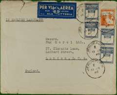 "(Palestine) World War II uncensored air cover to London, no arrival ds, franked 65p canc Jerusalem cds which also ties a white/pale blue ""Via Ala Littoria"" etiquette with company winged logo (two perfs missing). Non invasive closed tear top edge."