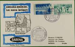 (Turkey) F/F Ankara to Brussels, b/s, cachet, souvenir Air cover, Sabena.