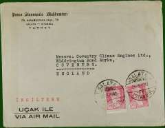 (Turkey) World War II uncensored printed commercial air cover to Coventry Climax Engines, England, no arrival ds, franked 60ku canc Galata cds. Likely to have flown via Egypt.