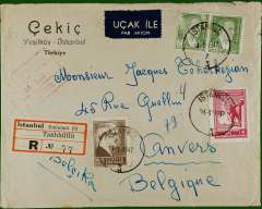 (Turkey) Post War registered (label) air cover to Antwerp, no arrival ds, franked 105ku + 4 k Defence canc Istanbul cds,also red boxed Istanbul/5 Control ds, white/dark blue etiquette.